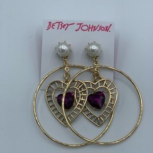 Betsey Johnson Gold Tone Purple Crystal Faux Pearl